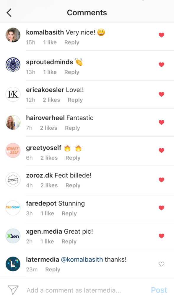 comments from Instagram followers
