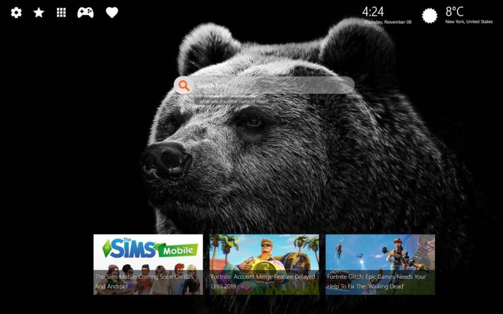 Bear HD Wallpaper Chrome New Tab Theme