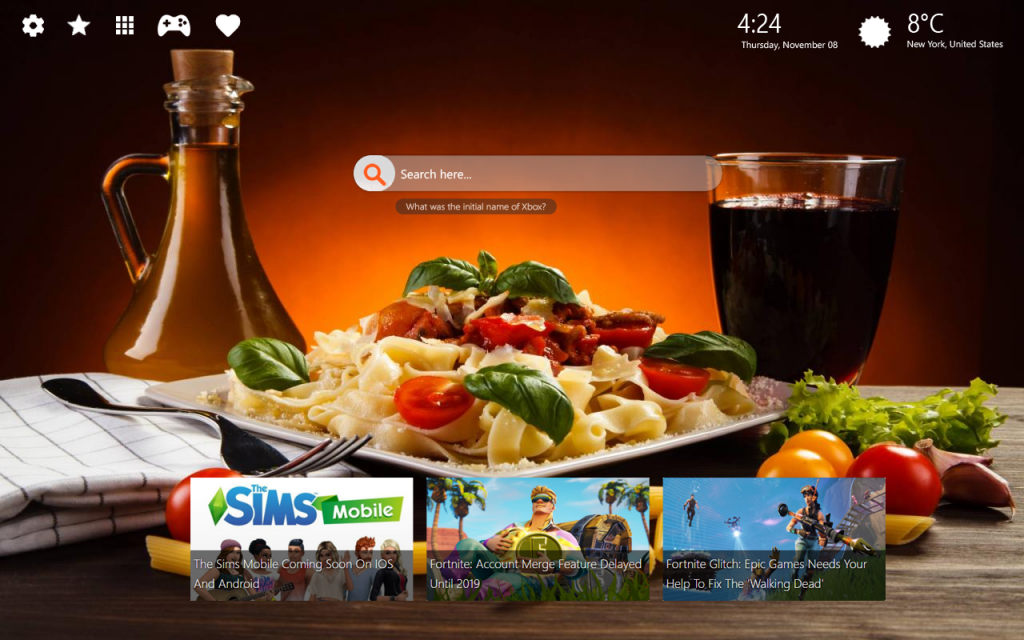 Food and Wine Recipes Chrome & New Tab Themes