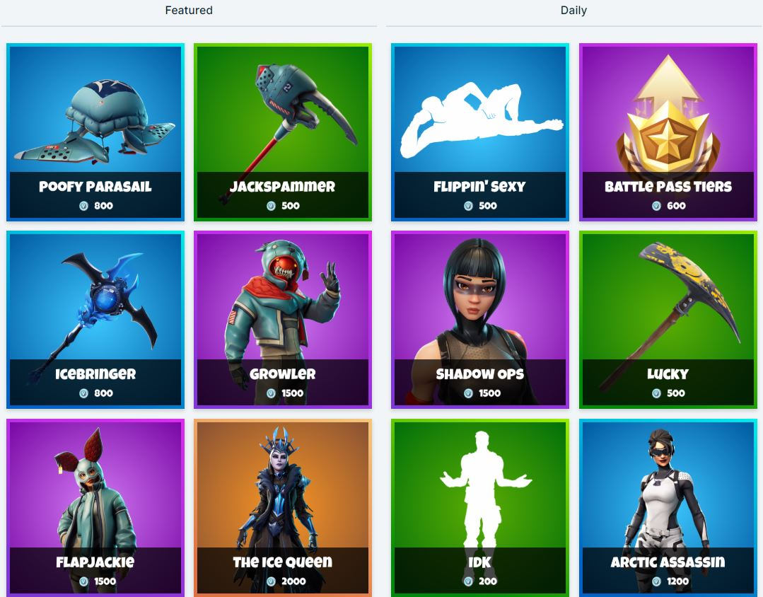 New Fortnite Shop Items