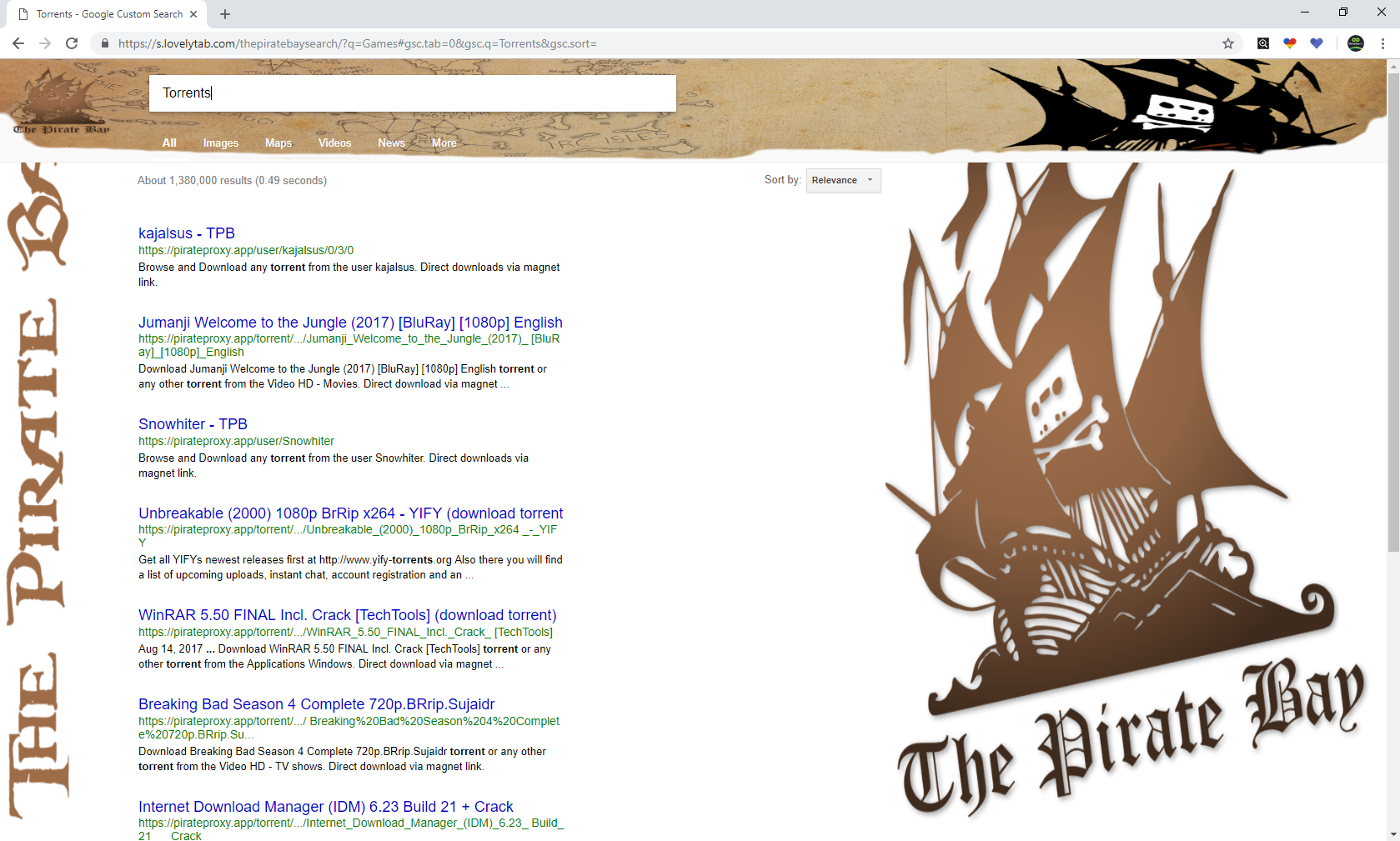 The Pirate Bay Search Screenshot