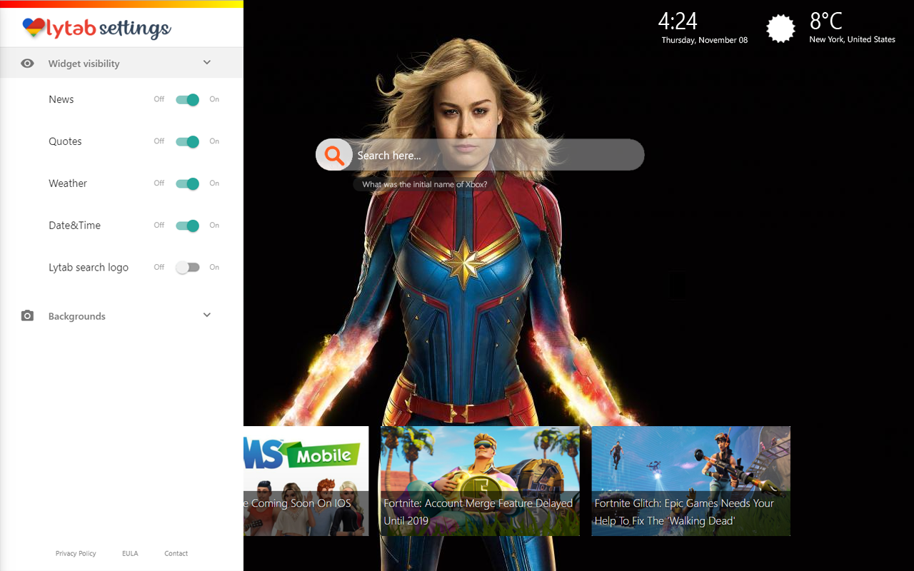 Captain Marvel New Tab Themes