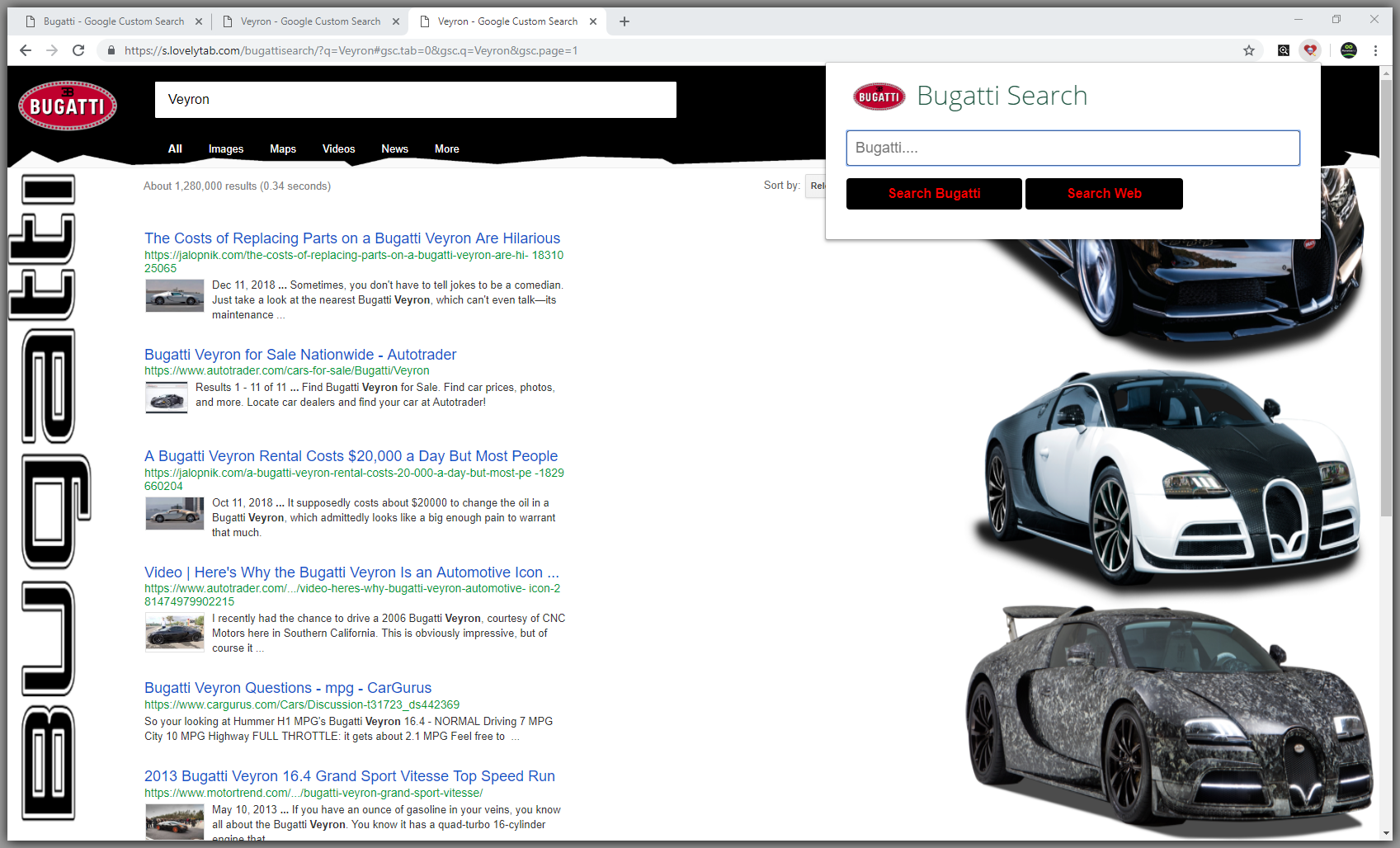 Bugatti Search Screenshot