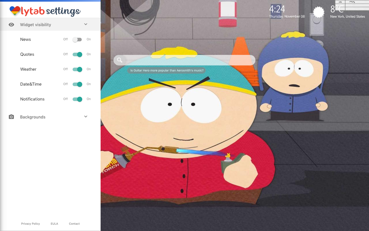 Eric Cartman South Park Settings Wallpaper