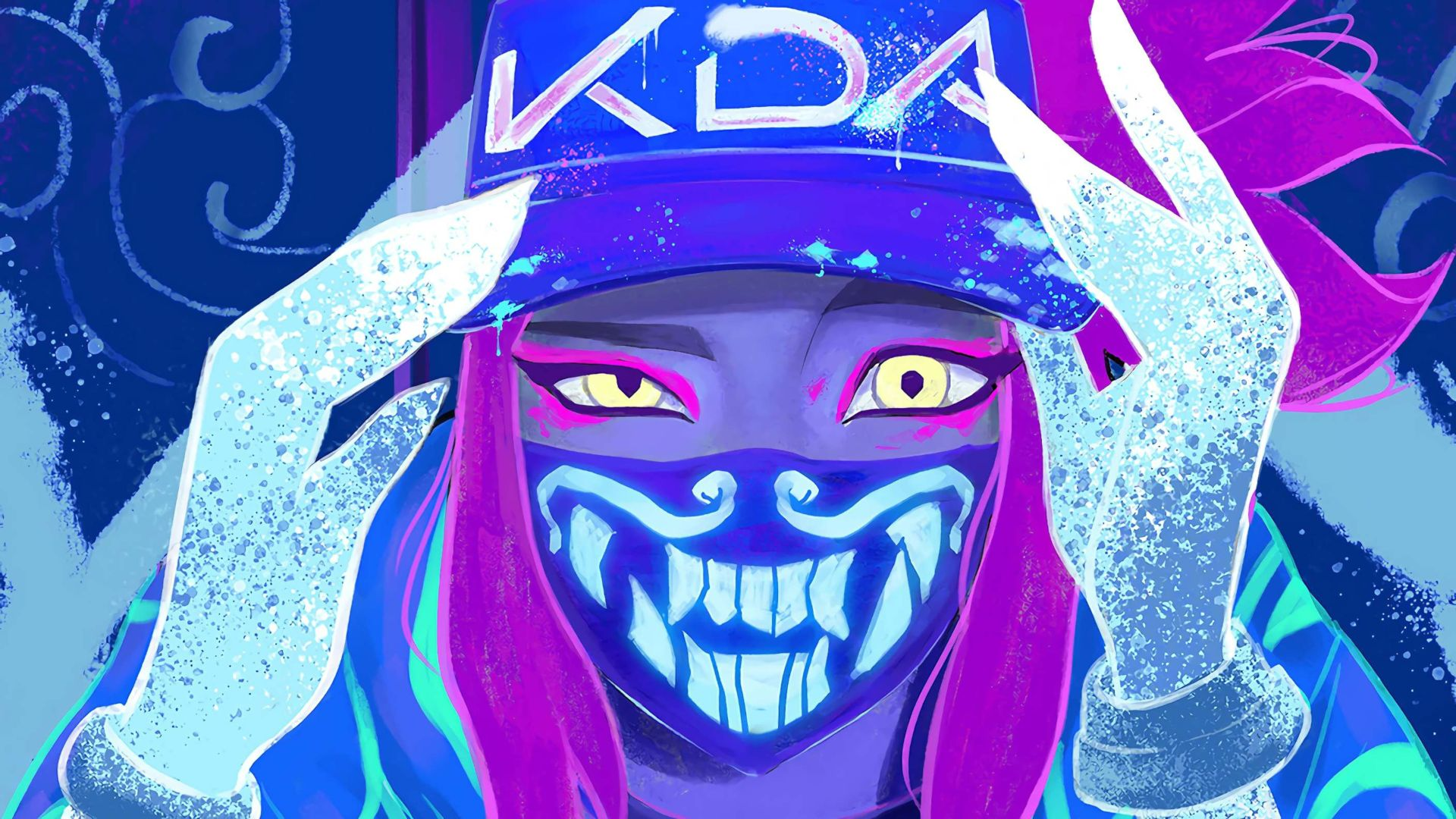Akali Mask Neon Backgrounds